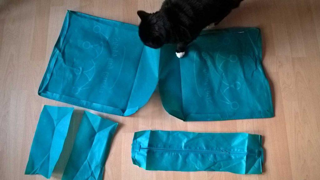 Zuschnitte für Stangen: Einfache Einkaufstasche zerlegt in 5 Teile