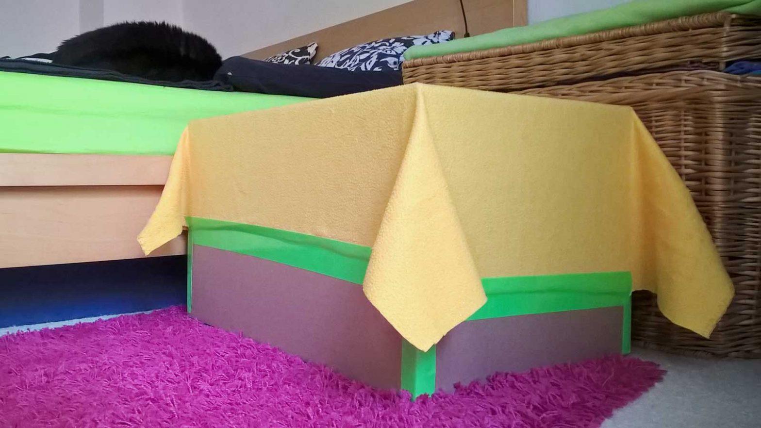 Trampolin aus Karton für Katze Luzi